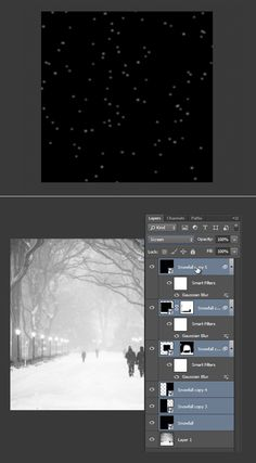 Create animated falling snow in photoshop