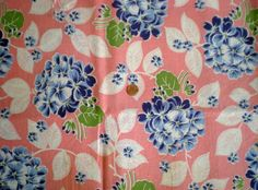 Large FLORAL on PINK Full Vtg FEEDSACK Quilt Sewing Dress Craft Cotton Fabric #cotton #patchwork
