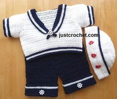 When you have a baby boy, I swear it will take all that is in me to control myself from this. Sailor Suit Baby Crochet Pattern by designer justcrochet. Crochet Toddler, Crochet Bebe, Crochet Baby Clothes, Crochet For Boys, Knit Crochet, Crochet Gifts, Free Crochet, Baby Patterns, Crochet Patterns