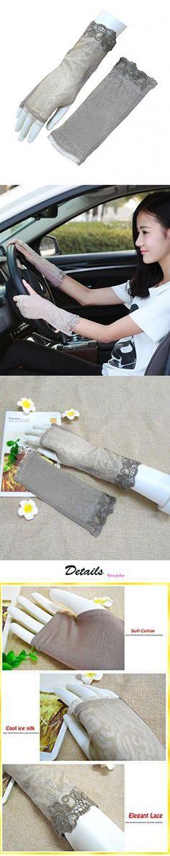 7b456843597 Sun UV Protection Gloves for Women Driving Glove Sun block Fingerless Thumb  Hole