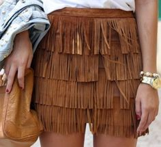 Zara aztec tan brown suede leather fringed skirt bloggers favorite sold out S #Zara #Minifringed