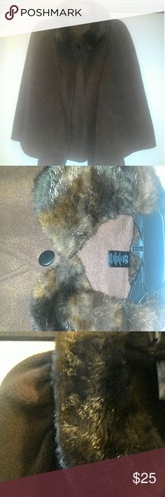 Shawl Cute Brown Shawl w/ Faux Mink Collar Soft & Lightweight  Pre-Loved, Excellent condition East 5th Jackets & Coats Capes