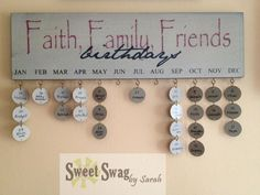 The Birthday Calendar helps you keep track of your friends and loved ones birthdays in rustic style! Distressed wooden plaque lists each month, and has metal eyelets for adding the round wooden name tags. More than one birthday to remember each month? Each of the tags has a hole in the bottom for...