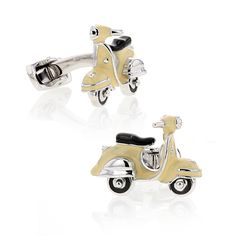 Cufflinks, Scooter, Sterling Silver and Tan Enamel