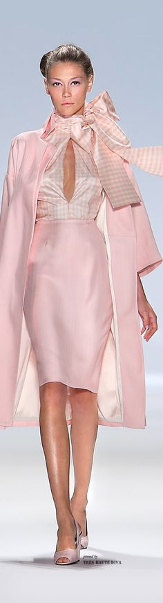 Zang Toi ~ Pink + White Check Keyhole Satin Blouse w Bow Detail, Pink Satin Skirt, Pink Satin Double Breasted Trench Coat 2015