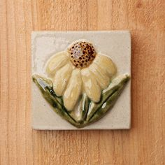 Handmade 2x2 ceramic pear tile comes with a hanger on the back or ready for a tile installation
