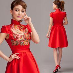 Oriental Red Cheongsam Wedding Dress - Juicy Wardrobe