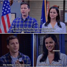 When you realize what kept him going was proposing to Amy! 😭😊😌😀😭 Jake and Amy Brooklyn Nine Nine Halloween Heist<< Omg I totally just got that rn. What the hell this is soooooo cuuuteeee Brooklyn Nine Nine Funny, Brooklyn 9 9, Series Movies, Tv Series, Netflix, Jake And Amy, Jake Peralta, Cultura General, Tv Quotes