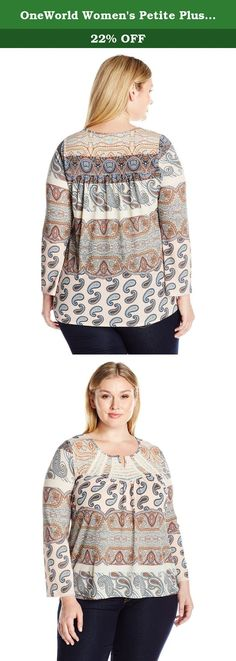 OneWorld Womens Plus Size Bishop Chiffon Sleeve Printed Knit Top
