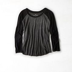 AEO Soft & Sexy Baseball T-Shirt ($20) ❤ liked on Polyvore featuring tops, t-shirts, scoopneck tee, black baseball t shirt, black tee, sexy tops and scoop neck t shirt