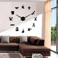 The Geeky Days Dinosaur Monster Home Decor DIY Large Wall Clock Modern Design Frameless Giant Wall Clock Kid Room Decorative Wall Art (Black) Giant Wall Clock, Mirror Wall Clock, 3d Mirror, Wall Clock Design, Mur Diy, Sala Vintage, Home Clock, Diy Clock, Diy Wall Clocks