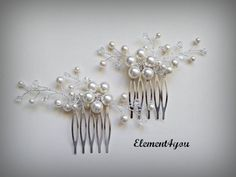 Bridal comb Wedding hair comb Set of 2 Ivory pearls by Element4you, $42.50