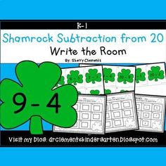 50% off for 24 hrs~(until 11:59 PM EST 03/12/17) Shamrocks Write the Room (Subtraction from 20) March - St. Patrick's DayThis is great for using plastic gold coins from the Dollar store for manipulatives as students solve each problem. This resource includes four pages of subtraction problems in color with a total of 20 subtraction cards.