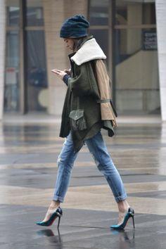 denim + heels