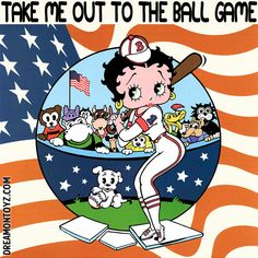 Take me out to the ball game <3 MORE Betty Boop graphics & greetings:  http://bettybooppicturesarchive.blogspot.com/  ~And on Facebook~ https://www.facebook.com/bettybooppictures    #BettyBoop and Pudgy playing Baseball with American flag background