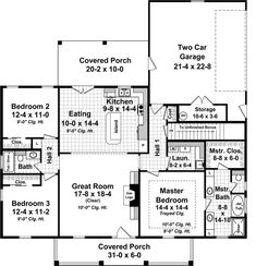 1,653 Sq. Ft. First Floor Plan of Cottage Country   Traditional House Plan 59969. PROS: Front and rear porches, nice laundry room (interior windowless room), kitchen open to livingroom. good size bedrooms. CONS: Not my favorite layout, but can't think of any cons.