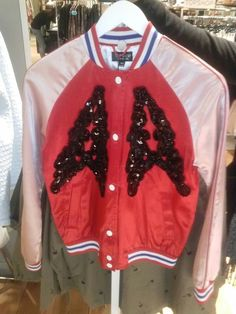 TOP SHOP Paris, France. Galleria Lafayette. Shopping Women's Fashion. Black Lace and Sequin Embellished Pastel / Red / White & Blue Letterman Jacket. Style 4 Style. StyleMe_Rough