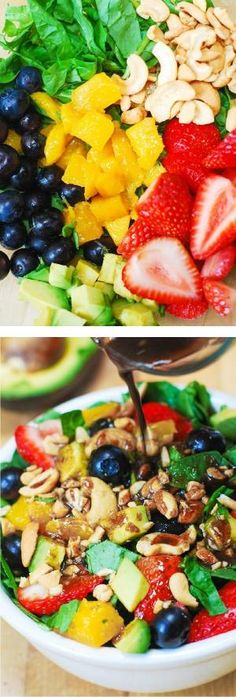 vegetarian recipes: Strawberry Spinach Salad, with Blueberries, Mango, Avocado, and Cashew nuts + homemade Balsamic Vinaigrette salad dressing. Think Food, I Love Food, Vegetarian Recipes, Cooking Recipes, Healthy Recipes, Vinaigrette Salad Dressing, Dressing Recipe, Salad Dressings, Paleo Dressing