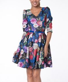 Love this Blue Floral Belted Fit & Flare Dress on #zulily! #zulilyfinds