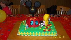 Mickey Mouse Club House by Jayme Sues Cakes this is my mom's friend she makes amazing cakes I'mtrying to get her spread around