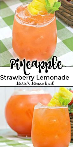 Pineapple Strawberry Lemonade is the ultimate way to quench your thirst on a hot summer day. Sweet strawberries tart lemons and fresh pineapples is all it takes to make this refreshing drink! Pineapple Drinks, Fruit Drinks, Yummy Drinks, Healthy Drinks, Strawberry Alcohol Drinks, Strawberry Drink Recipes, Summer Drink Recipes, Alcohol Drink Recipes, Punch Recipes