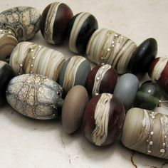 Lampwork Glass Bead Set Etched Rustic by StoneDesignsbySheila, $62.00
