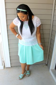 lovely in lace: White short sleeve lace top with mint flared pleated maxi skirt modest outfit idea