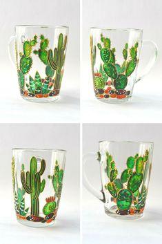 Cactus mug Painted glass mug Personalized mug Succulent gift Painted glassware Bottle Painting, Bottle Art, Bottle Crafts, Painting On Glass, Glass Painting Designs, Stained Glass Designs, Diy Wine Glasses, Painted Wine Glasses, Craft Projects For Adults