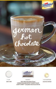German Hot Chocolate Give your hot cocoa a coconut twist with this rich hot drink for winter. This easy recipe is perfect for chocolate-lovers in the morning, evening, and every time in between. Try our German Hot Chocolate recipe today. Healthy Cookie Recipes, Healthy Cookies, Dessert Recipes, Desserts, Drink Recipes, Healthy Sweets, Vegetarian Recipes, Hot Chocolate Recipes, Chocolate Flavors