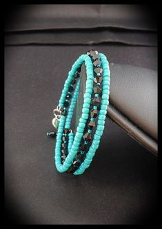 Memory Wire Bracelet made with 3mm Black Glass Bicone by SUNnNITE, $10.00