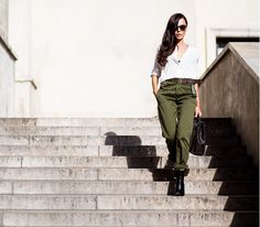 Street Style White Blouse and Green Trousers