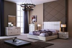 J&M Paris Modern Cream High Gloss Finish Leather Headboard Queen Bedroom Set 3Pc