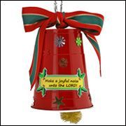 plastic cup bell craft; you could make quiet versions with tinsel or painted pinecones!