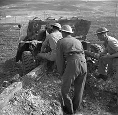 Gun crew with their Ordnance QF 17-pounder anti-tank gun of the 57th Battery, 1st Anti-Tank Regiment, Royal Canadian Artillery, near Campobasso, Italy, 25 October 1943. (Library and Archives Canada Photo, MIKAN No. 3599876)