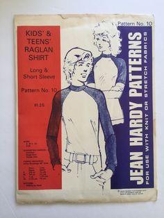 Vintage Jean Hardy Sewing Pattern 10 Kids & Teens Raglan Shirt Uncut 1973 S-XL #JeanHardyPatterns #RaglanShirt