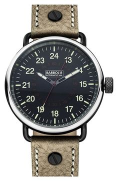 Barbour 'International' Leather Strap Watch, 44mm available at #Nordstrom