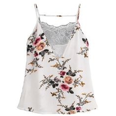 Vintage Women Lace Vest Top Sexy Sleeveless Backless Tank Summer  V Neck Floral Printed  Tops Camis Haut femme #EP #Affiliate
