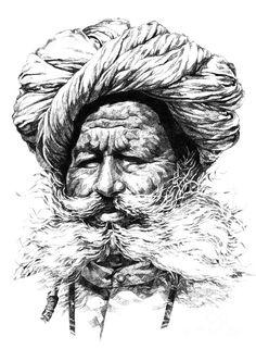 Potrait Drawing Rajasthani Man Painting by Rohan Pore - Rajasthani Man Painting by Rohan Pore Abstract Pencil Drawings, Pencil Art Drawings, Art Drawings Sketches, Hipster Drawings, Drawing Faces, Manga Drawing, Drawing Tips, Rajasthani Painting, Rajasthani Art