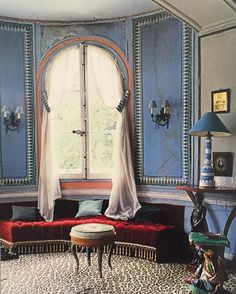 INSPIRATIONAL INTERIORS: Madeleine Castaing believed a house should be alive and loathed sterile interiors, as amply expressed in the decoration of her Lèves country house: the legendary Castaing blue walls, a sumptuous, deep-buttoned Napoleon III sofa and other romantic 19th Century furniture arranged like sculpture on ocelot carpet (René Stoeltie photography) #madeleinecastaing #manorhouse #countryhouse #castaingblue #ocelotcarpet #napoleoniii #sofa #19thcentury #romantic #ocelotcarpet…