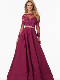 Ball Gown Bateau Long Sleeves Applique Floor-Length Satin Dresses