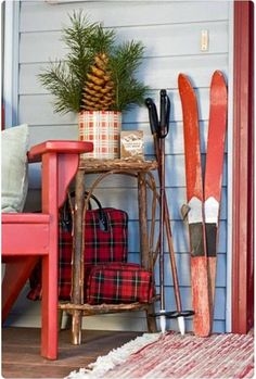 Holiday Vignette with Vintage Skis, Adirondack Chair, and Plaid! Farm Chicks Christmas DecorAwesome Holiday Vignette with Vintage Skis, Adirondack Chair, and Plaid! Christmas Lodge, Tartan Christmas, Christmas Porch, Noel Christmas, Country Christmas, Winter Christmas, All Things Christmas, Vintage Christmas, Christmas Crafts
