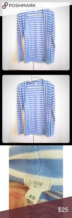 J. Crew Blue & White Striped Cardigan Super cute for spring/summer. EUC. Worn a couple of times. No issues or stains. Open to REASONABLE offers! J. Crew Sweaters Cardigans