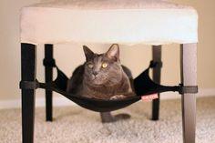 CRIB Katzenhängematte für Stühle, Tische, Sessel - Katze Hängematte Liegemulde - SCHWARZ