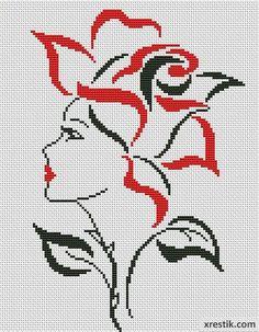 Девушка-цветок Люди Монохром Схема для вышивки scheme for cross stitch
