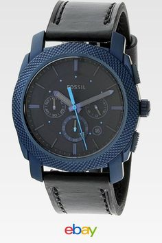 583c4ba5f Fossil Men's Machine Blue Leather Japanese Quartz Fashion Watch Fossil Blue  Watch, Fossil Watches,