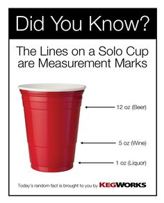 The lines on a red plastic (Solo) cup are measurement marks! Good to know, since I hardly ever drink!