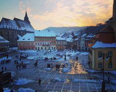 Brasov at sunset #winter #Romania