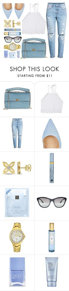 """""""Gold Hint"""" by jomashop ❤ liked on Polyvore featuring Valentino, Front Row Shop, Gianvito Rossi, Estée Lauder, Rituals, Vogue, Seiko, Shay & Blue, Nails Inc. and Blue"""
