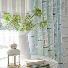 sailboat curtains-Guest room ideas
