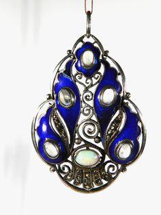 FAHRNER Jugendstil Art Nouveau Silber Email Mondstein Opal Markasiten Anhänger